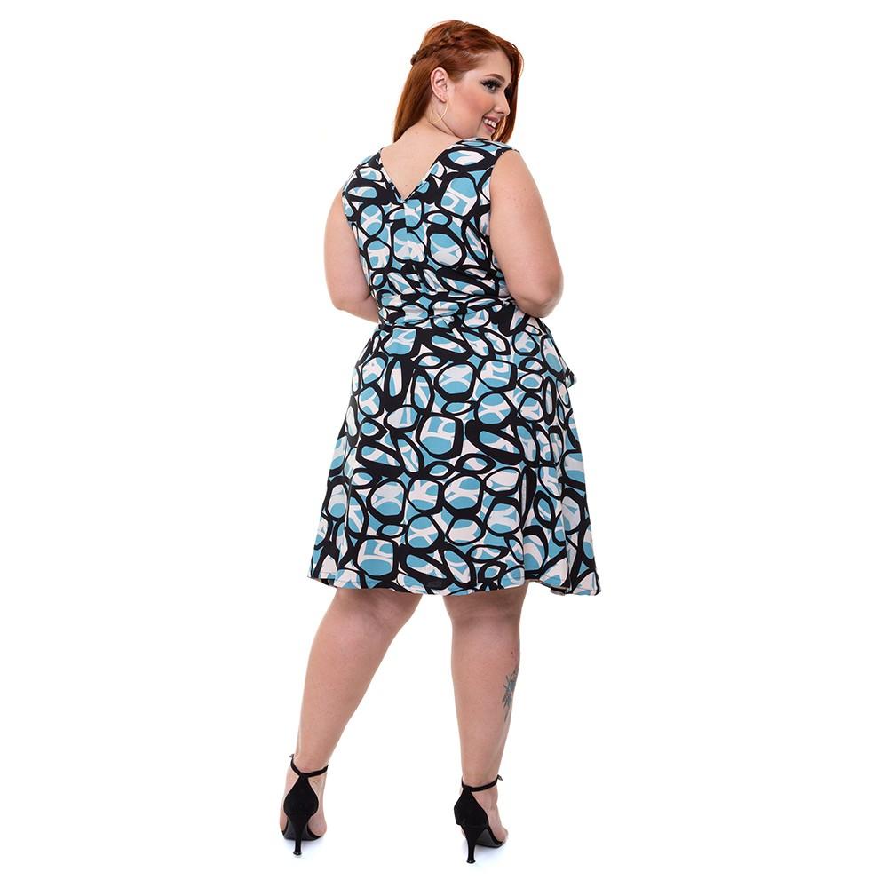 Vestido Curto Sem Mangas Plus Size Verão Geometrico