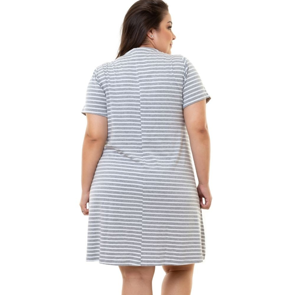 Vestido de Malha Plus Size da Pradiva Cinza