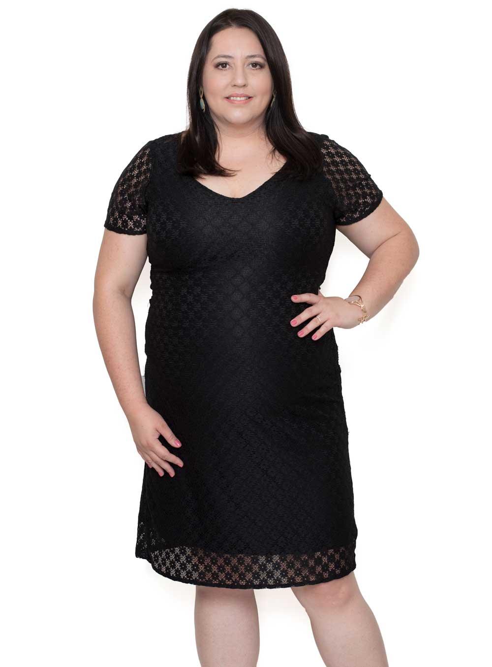 cad29b1f0 FOTOS. Vestido Festa Renda Plus Size Preto - Moda Plus Size Feminina -  UNIVERSO PLUS ...