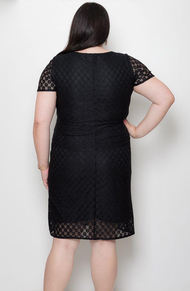 Vestido Festa Renda Plus Size Preto