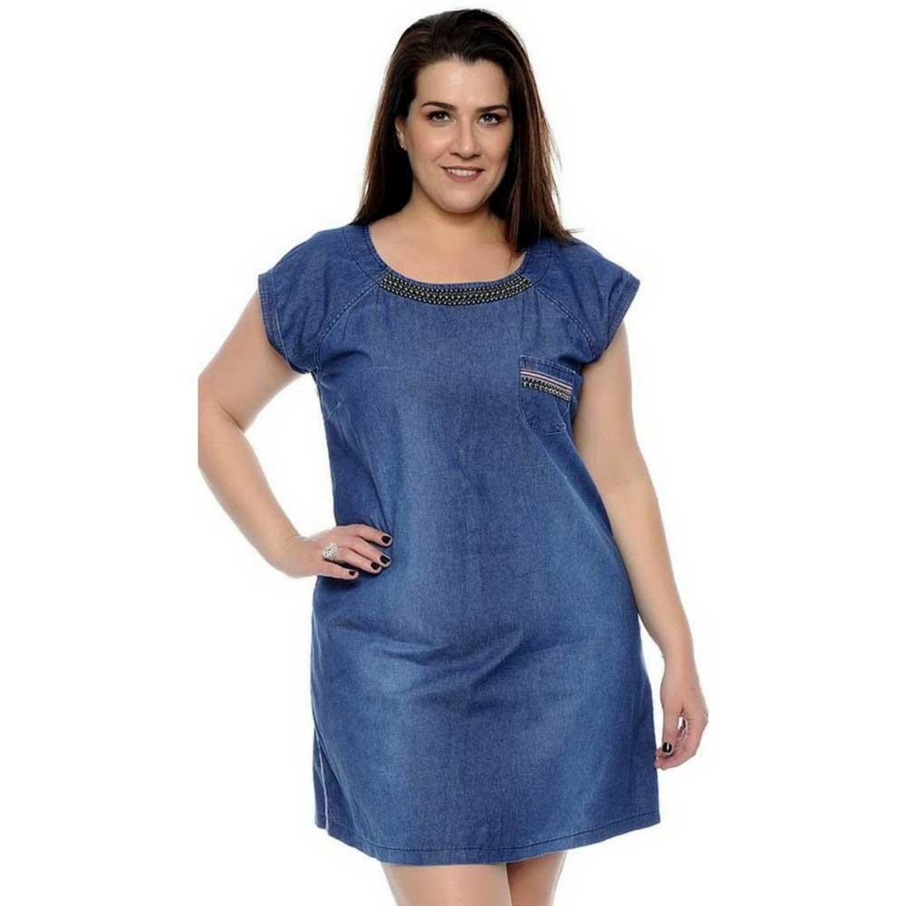 6432bb8eb6ff Vestido Jeans Colins Plus Size - Moda Plus Size Feminina - UNIVERSO PLUS ...