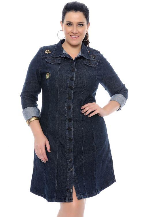 Vestido Jeans Plus Size Evase