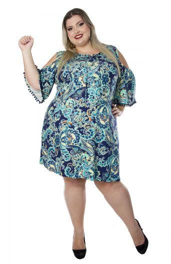 Vestido em Malha Plus Size