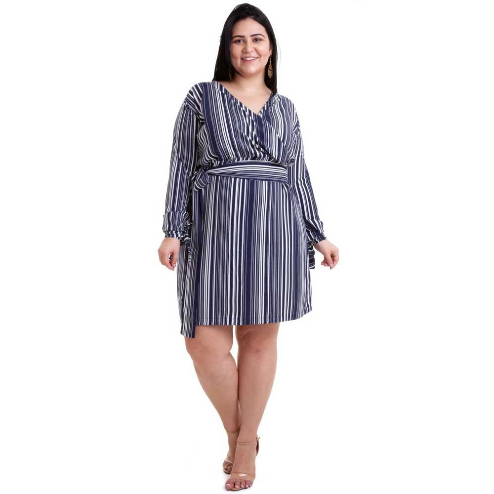 57a235347 Vestido Plus Size Listrado Azul - Moda Plus Size Feminina - UNIVERSO PLUS  ...