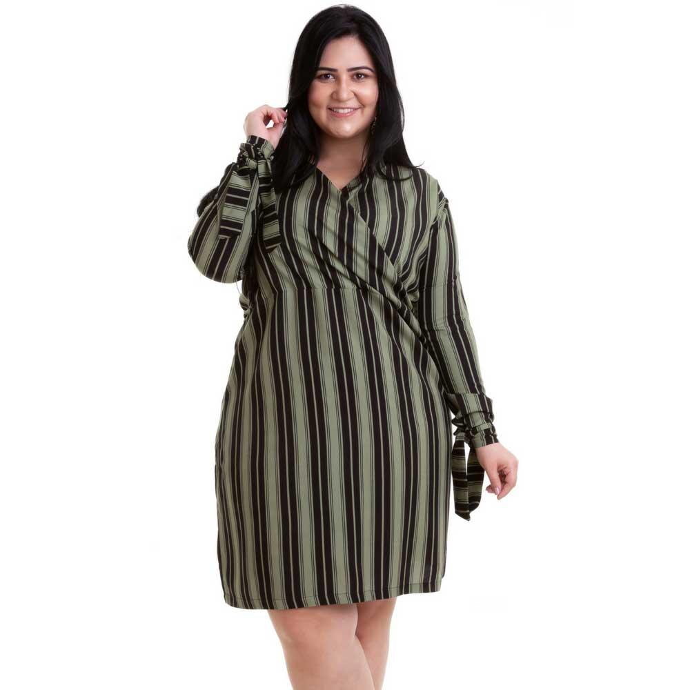 Vestido Transpassado Plus Size Listrado Verde