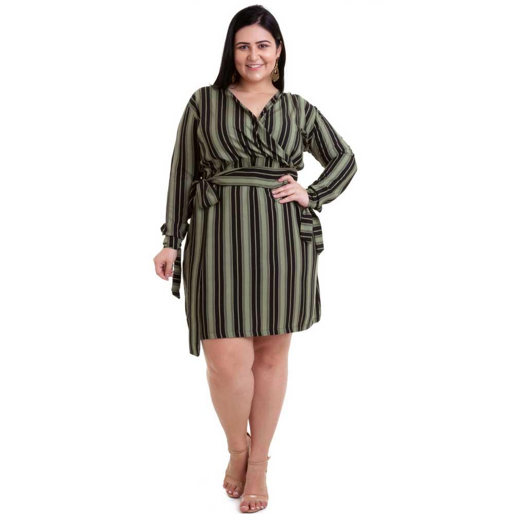 Vestido Plus Size Listrado Verde