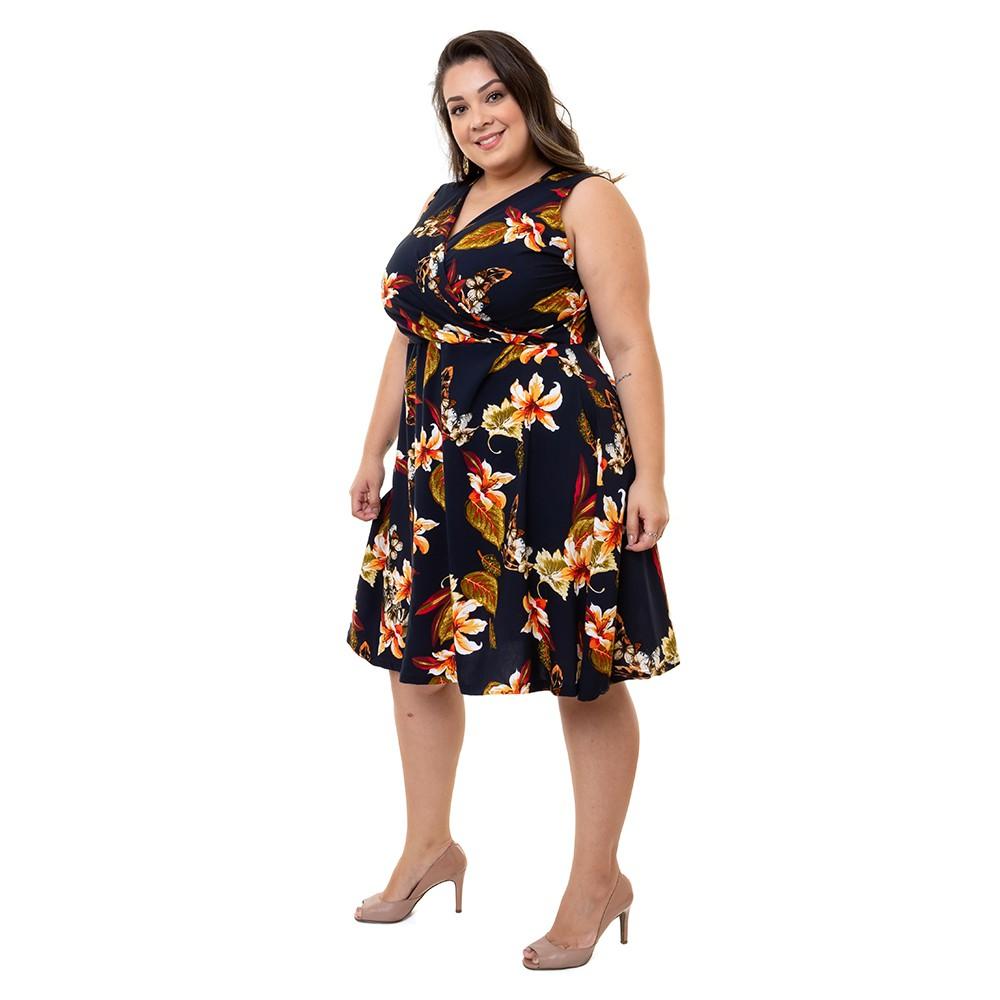 Vestido Plus Size Sem Manga Pradiva Floral