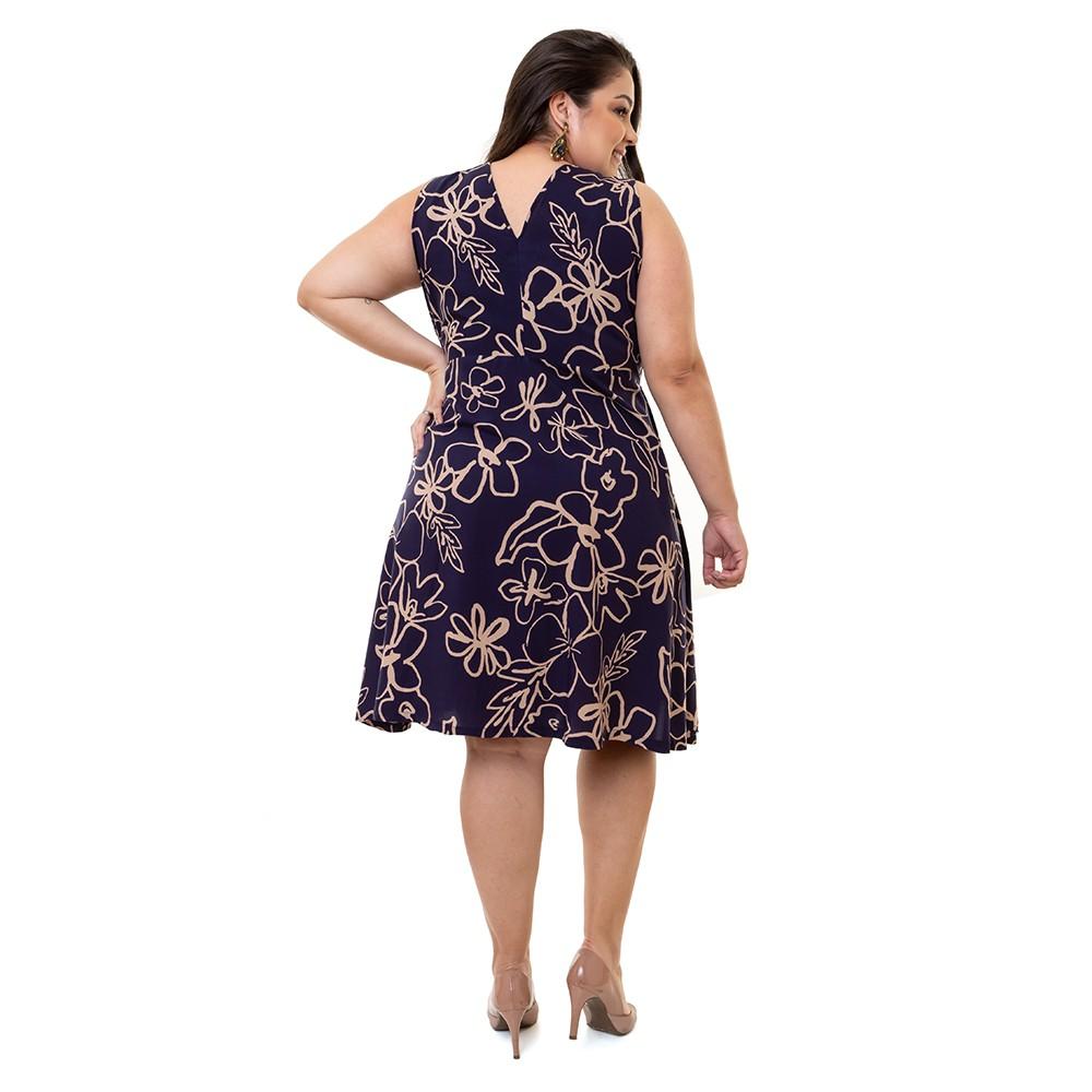 Vestido Plus Size Sem Manga Pradiva Floral Azul