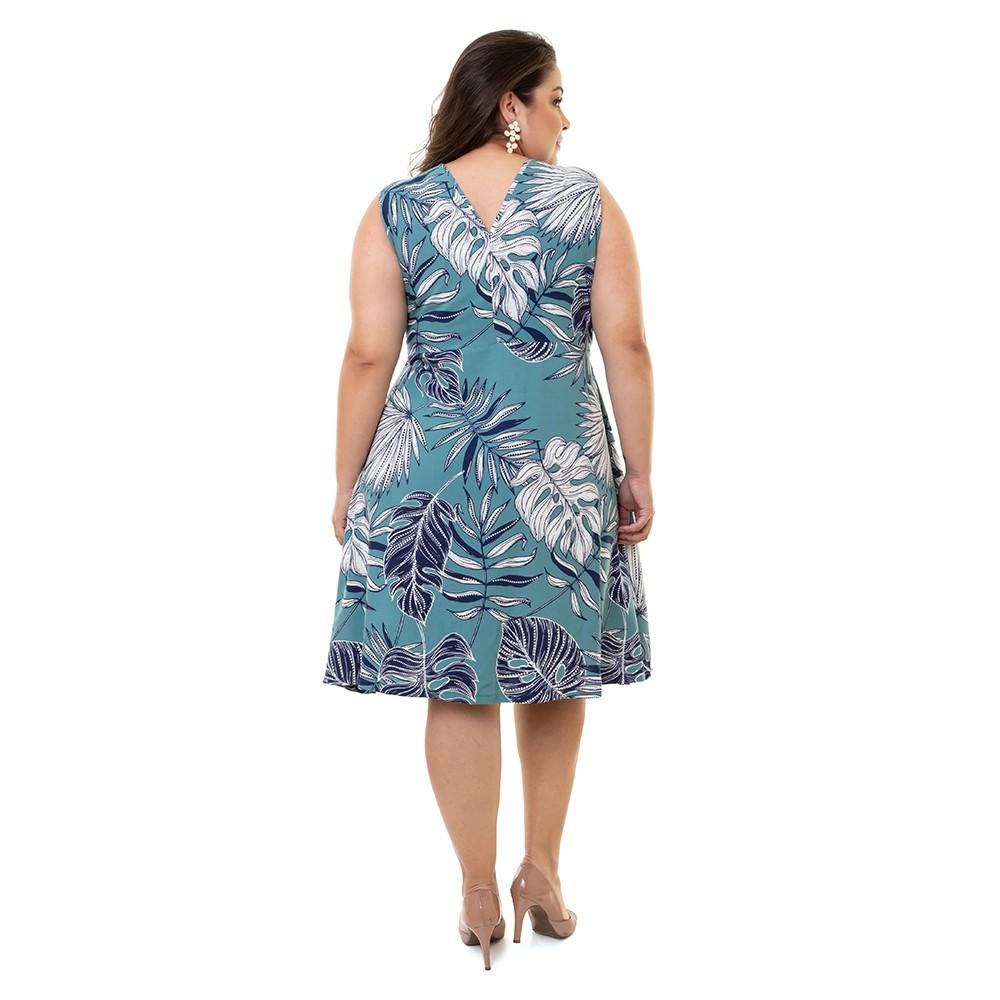 Vestido Plus Size Sem Manga Pradiva Floral Verde