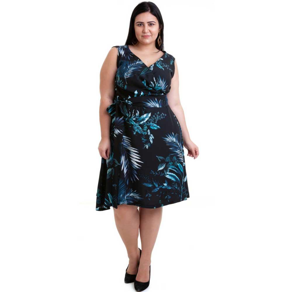 Vestido Plus Size sem Mangas Floral Verde