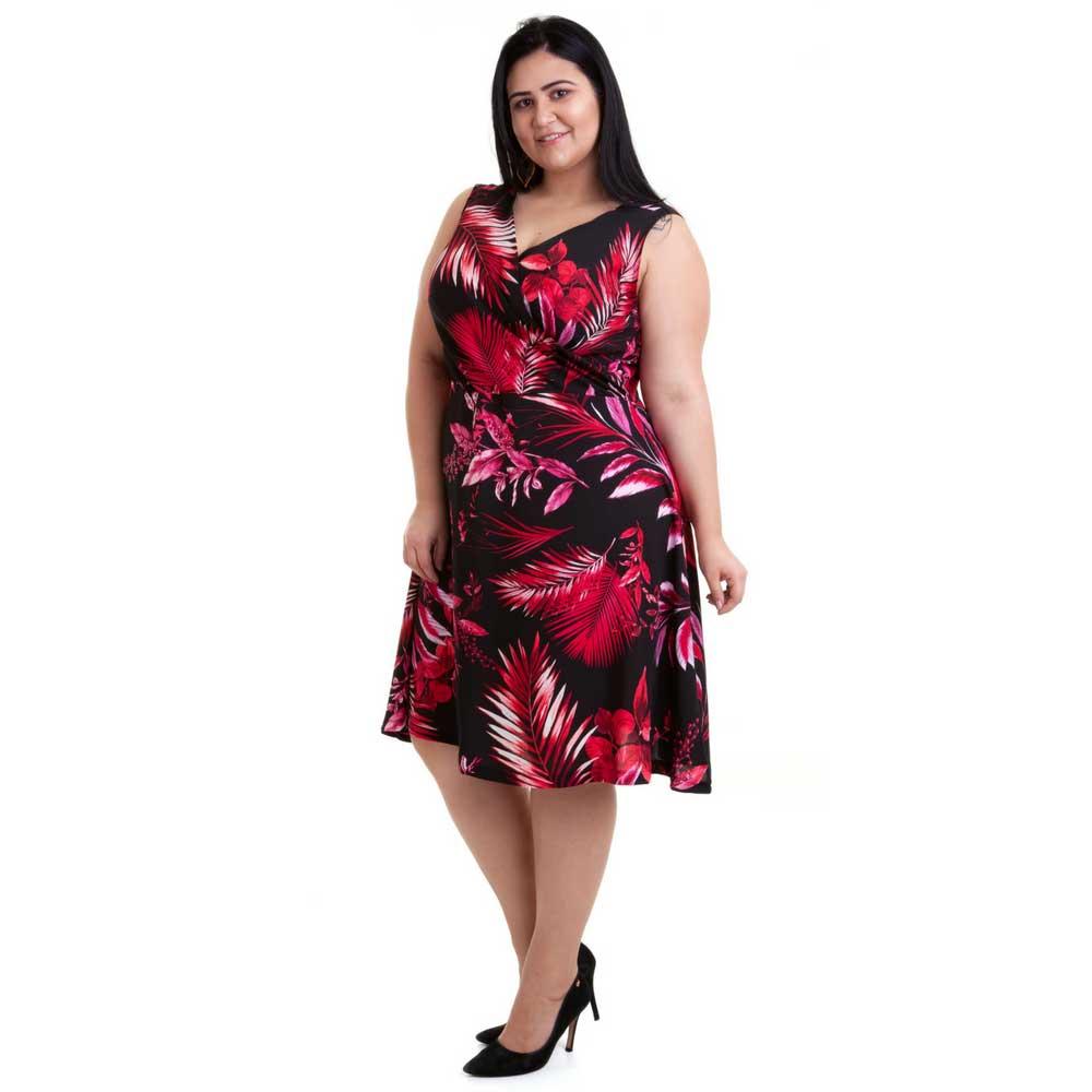 Vestido Plus Size sem Mangas Floral Vermelho