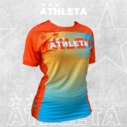 Camiseta Athleta Free Feminino - Azul com Laranja