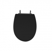 Assento Sanitário Poliéster para Louça Absolute (Ideal Standard) Aço Cromado (Reb. Oculto) Preto