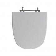 Assento Sanitário Poliéster para Louça Mondiale (Celite) Aço Cromado (Reb. Oculto) Cinza Prata