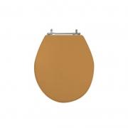 Assento Sanitário Poliéster para Louça Ravena/Izy (Deca) Aço Cromado (Reb. Oculto) Bege Castor