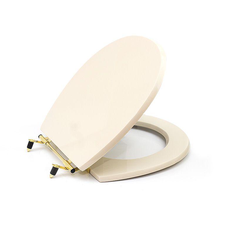 Assento Sanitário Poliéster para Deca Deville Liso Aço Ferragem Dourada Creme Sedile