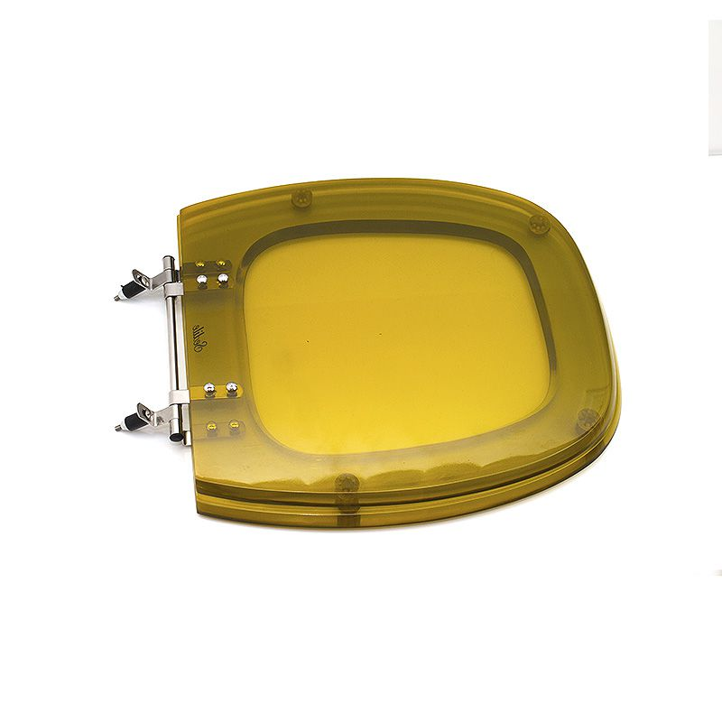 Assento Sanitário Poliéster para Incepa Thema Liso Aço (Reb. Aparente) Ambar Translúcido Sedile