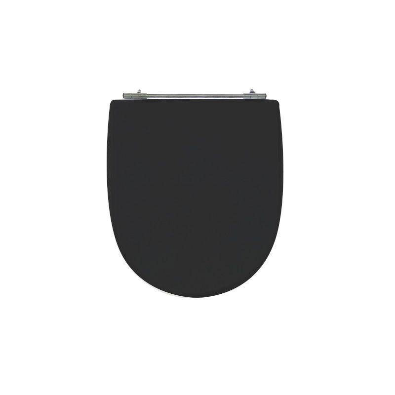 Assento Sanitário Poliéster para Louça Calypso (Incepa) Aço Cromado (Reb. Oculto) Preto