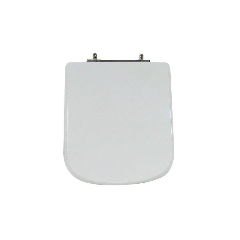 Assento Sanitário Poliéster para Louça Dama Senso (Roca) Aço Cromado (Reb. Oculto) Branco