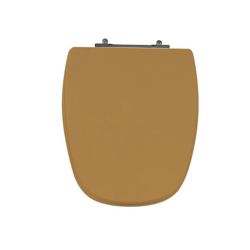 Assento Sanitário Poliéster para Louça Monte Carlo/Venice (Deca/Belize) Aço Cromado (Reb. Oculto) Bege Castor