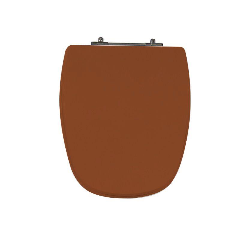 Assento Sanitário Poliéster para Louça Monte Carlo/Venice (Deca/Belize) Aço Cromado (Reb. Oculto) Caramelo