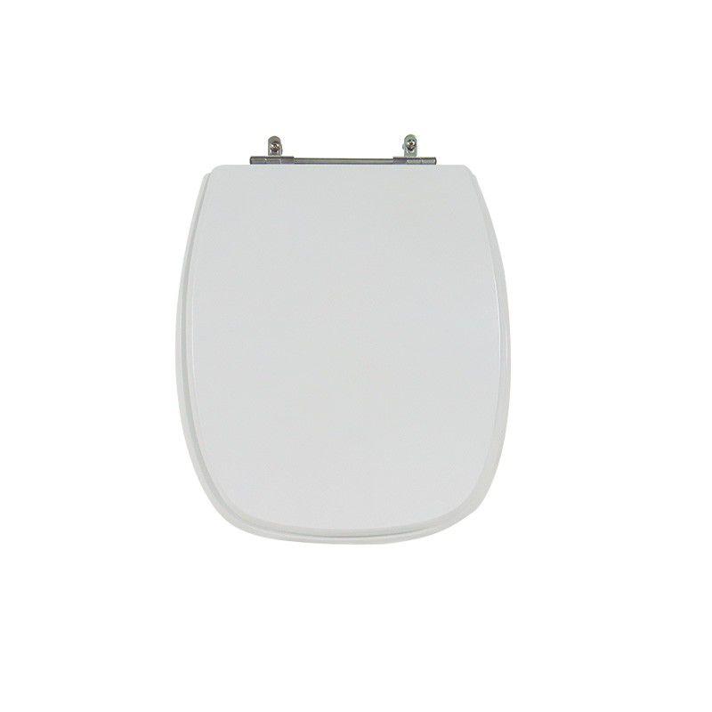 Assento Sanitário Poliéster para Louça Primula (Fiori) Aço Cromado (Reb. Oculto) Branco