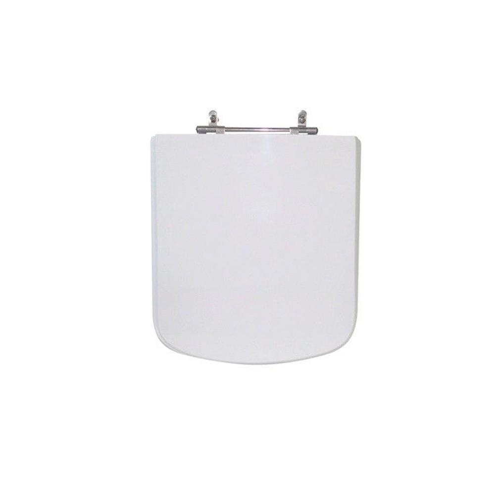 Assento Sanitário Poliéster para Louça Quadra/Unic/Axis (Deca) Aço Cromado (Reb. Oculto) Branco