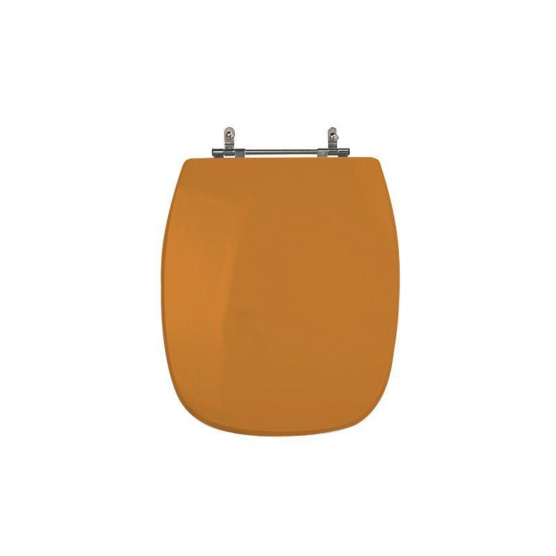 Assento Sanitário Poliéster para Louça Stylus (Celite) Aço Cromado (Reb. Oculto) Amarelo Terra