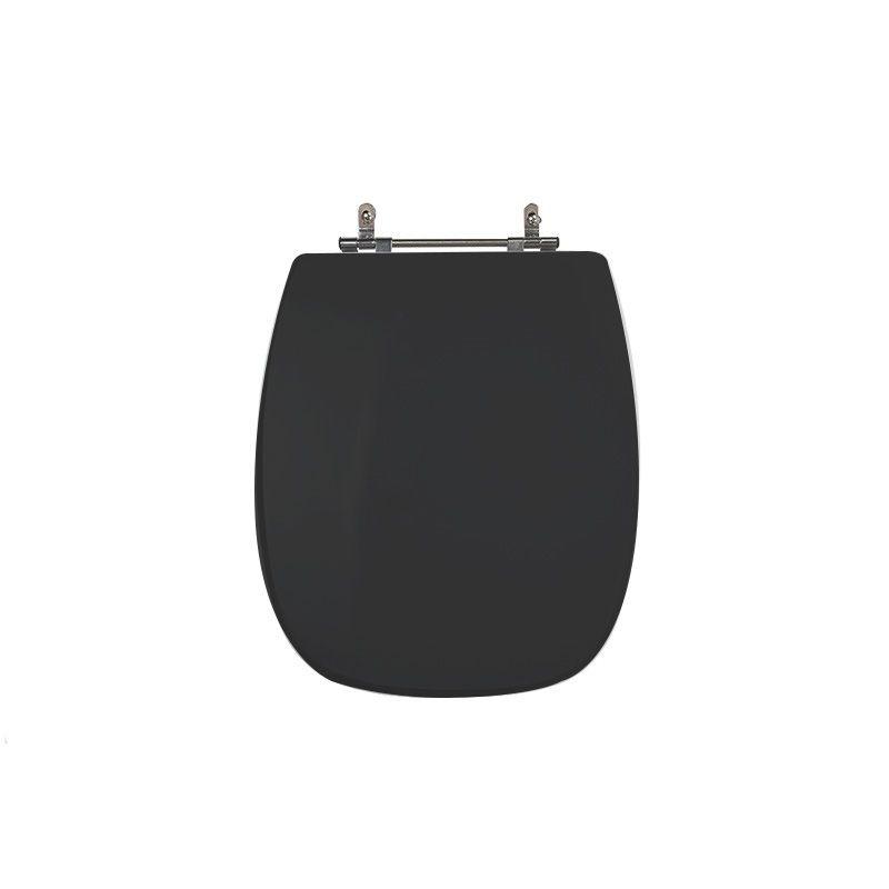 Assento Sanitário Poliéster para Louça Stylus (Celite) Aço Cromado (Reb. Oculto) Preto
