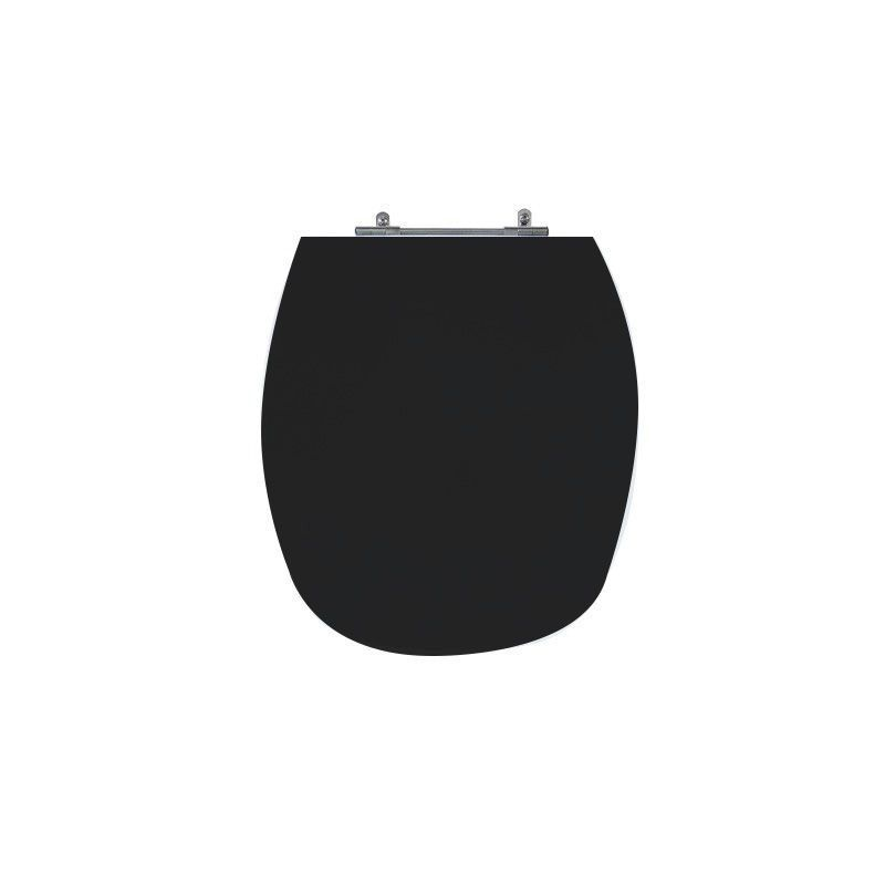 Assento Sanitário Poliéster para Louça Thema (Incepa) Aço Cromado (Reb. Oculto) Preto