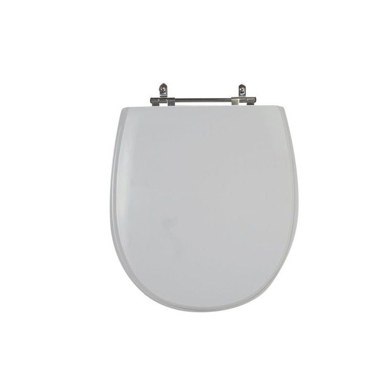 Assento Sanitário Poliéster para Louça Village (Deca) Aço Cromado (Reb. Oculto) Cinza Real