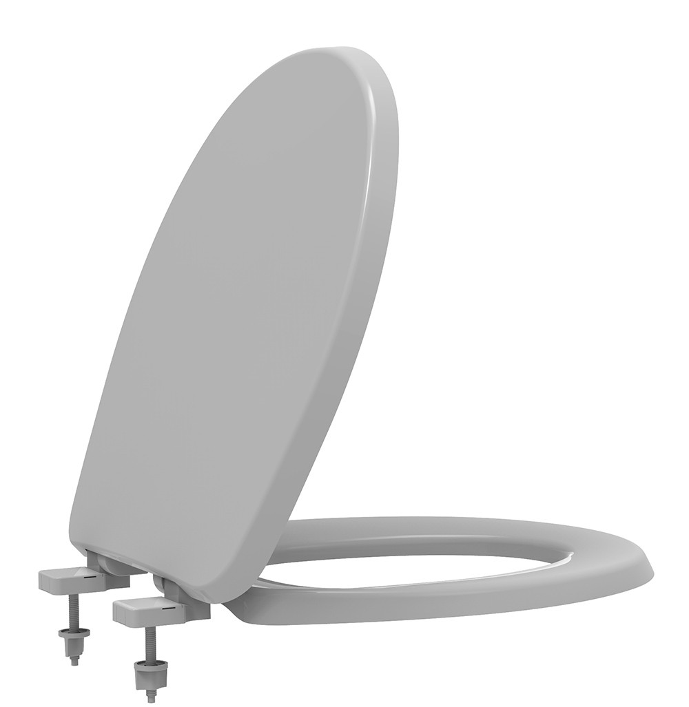 Assento Sanitário Termofixo Soft Close Evolution Cinza Prata