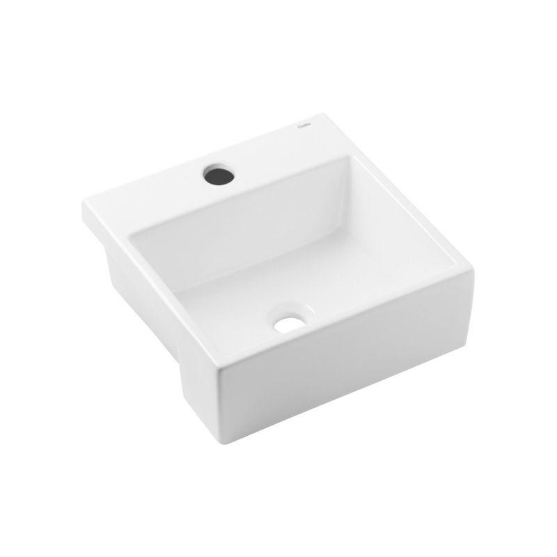 Cuba de Semi-Encaixe 41x41cm Q2 Basic - Celite Branco