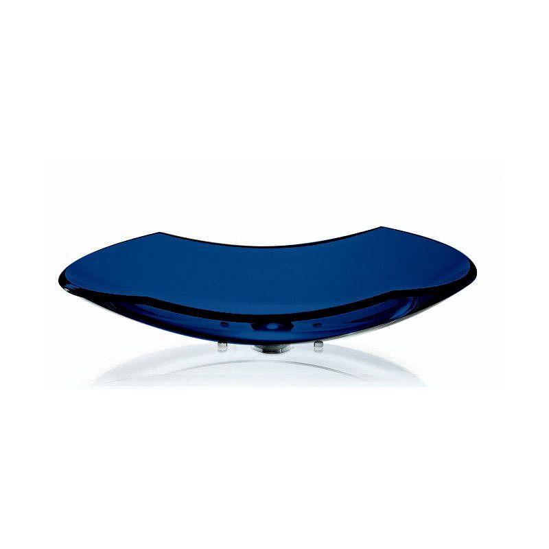 Cuba de Vidro Canoa 60x30cm com Pinos Bergan Azul escuro