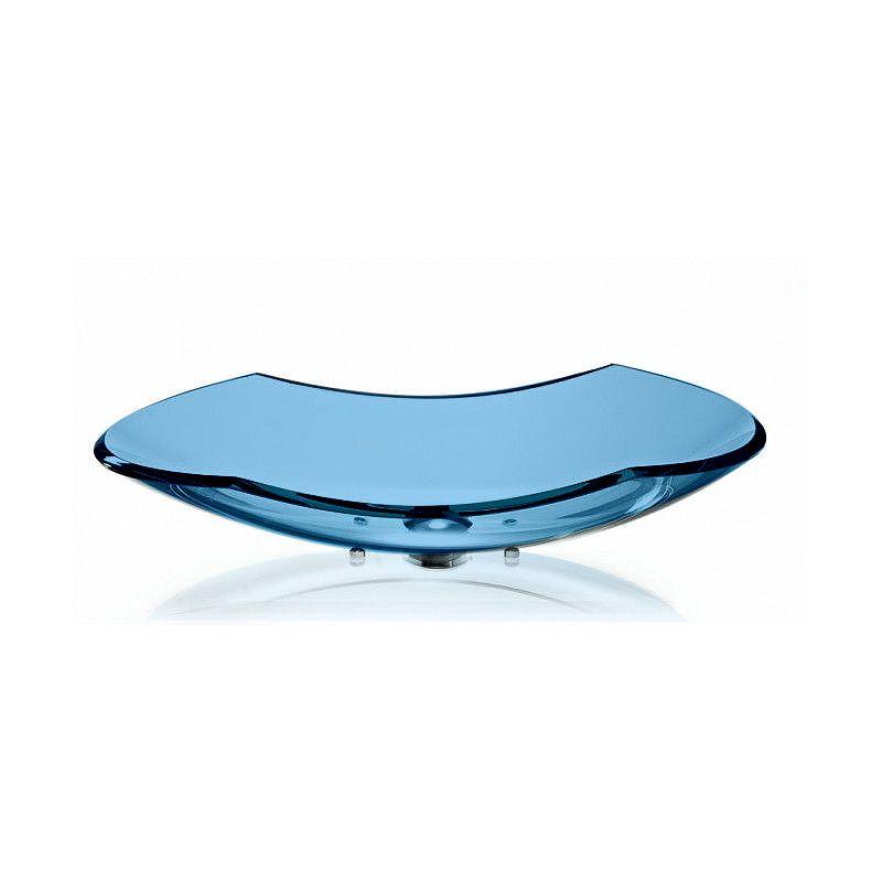 Cuba de Vidro Canoa 70x33cm com Pinos Bergan Azul claro