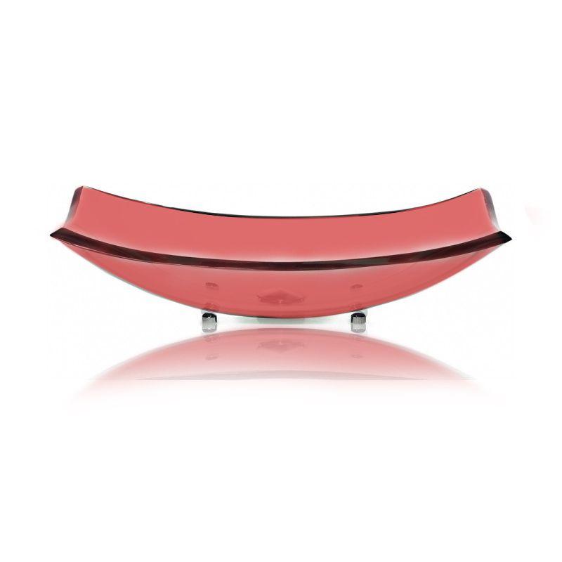 Cuba de Vidro Curve 48x28cm com Pinos Bergan Vermelho