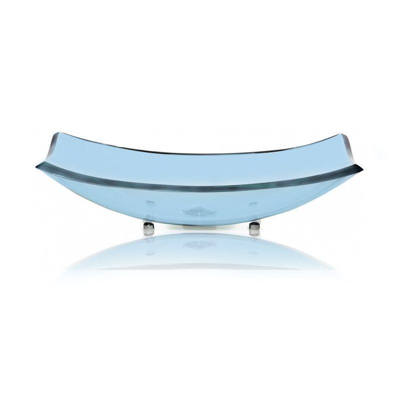 Cuba de Vidro Curve 56x32cm com Pinos Bergan Azul claro