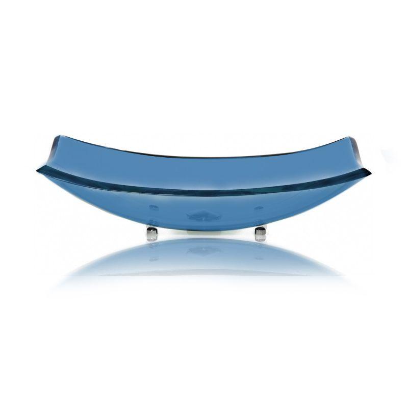 Cuba de Vidro Curve 56x32cm com Pinos Bergan Azul escuro