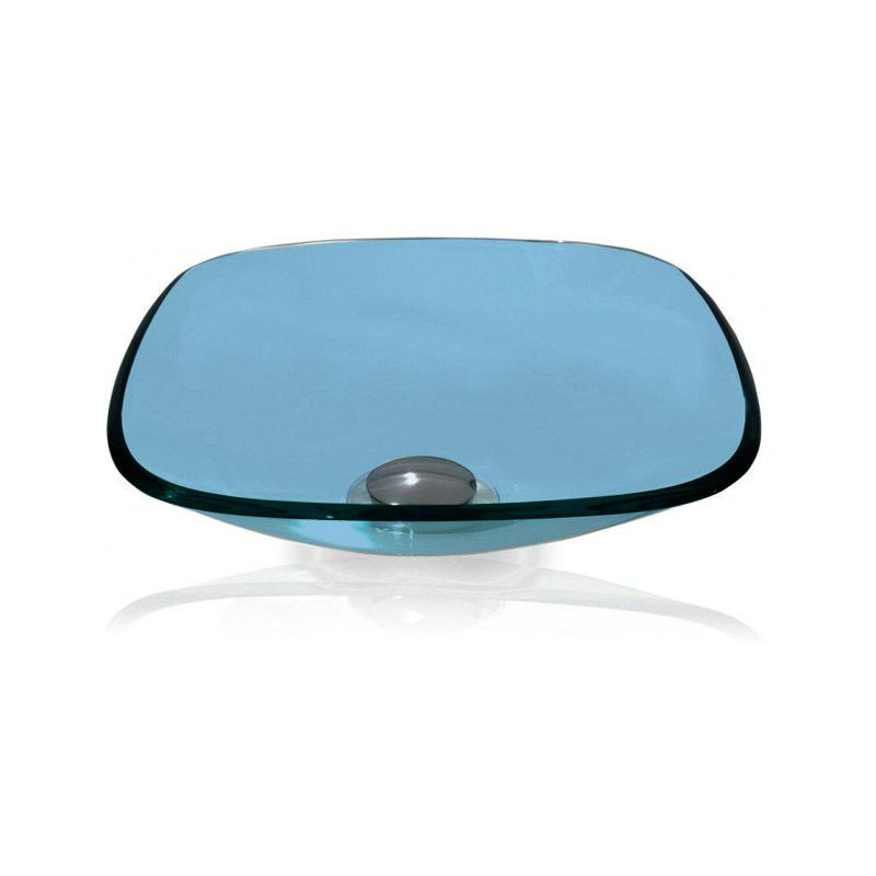 Cuba de Vidro Quadrada 35x35cm com Anel Bergan Azul claro