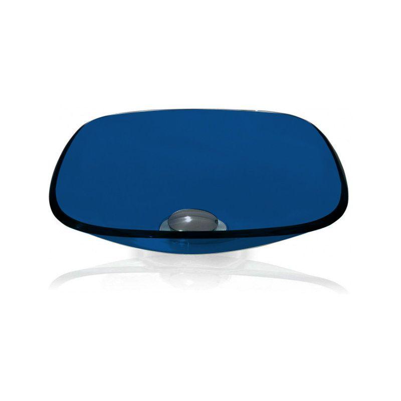 Cuba de Vidro Quadrada 35x35cm com Anel Bergan Azul escuro
