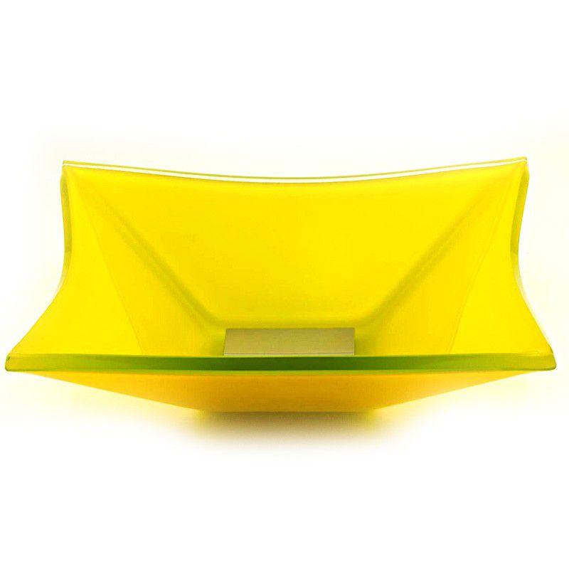 Cuba de Vidro Quadrada Grand Sulle 40x40cm 12 mm Bergan Amarelo