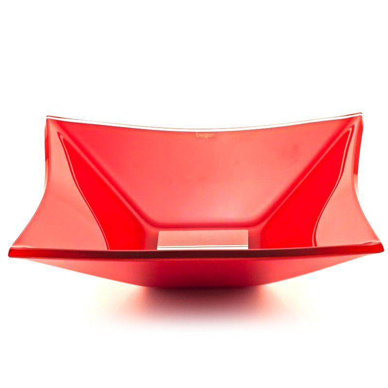 Cuba de Vidro Quadrada Grand Sulle 40x40cm 12 mm Bergan Vermelho