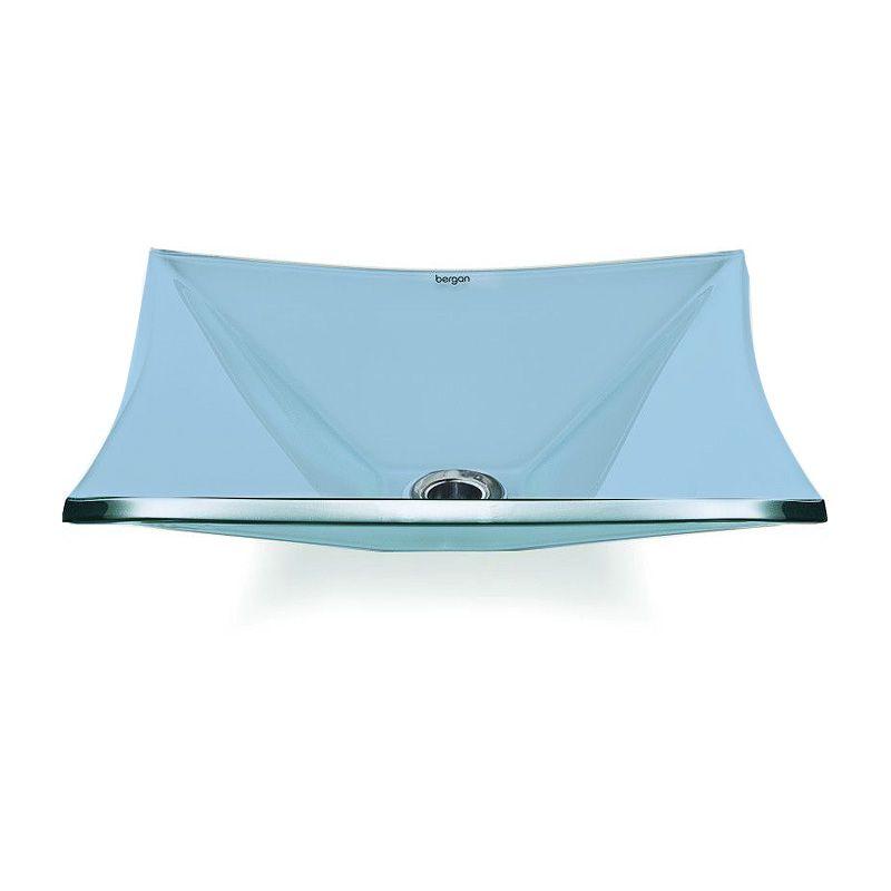 Cuba de Vidro Quadrada Sulle 34x34cm 10mm Bergan Azul claro