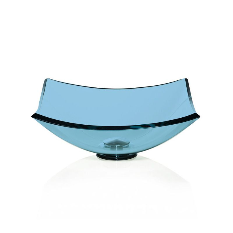 Cuba de Vidro Quattro 35x35cm com Anel Bergan Azul claro