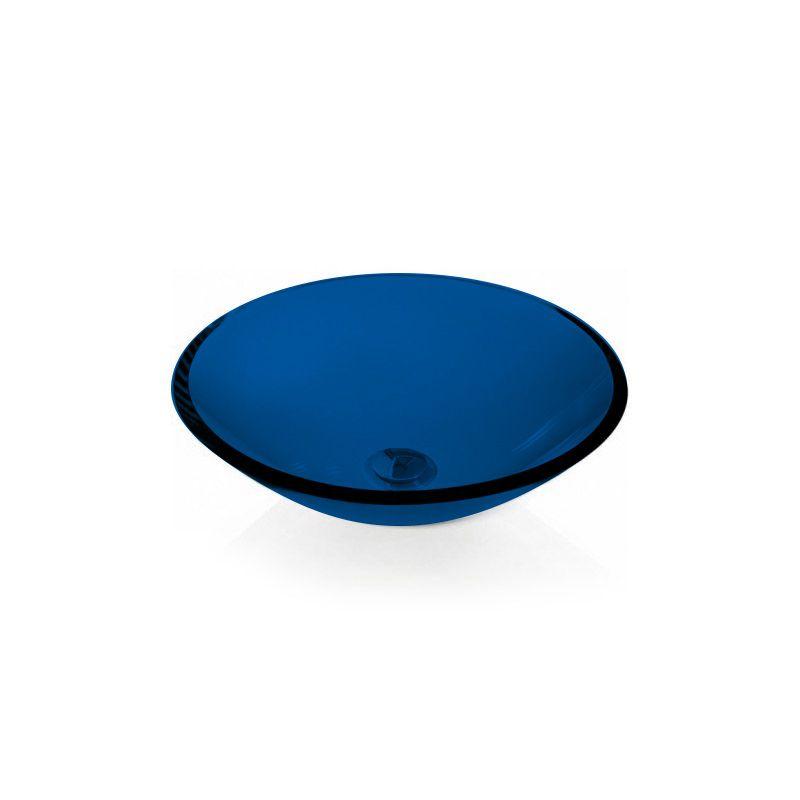 Cuba de Vidro Redonda Sem Aba 30cm 10mm Bergan Azul escuro