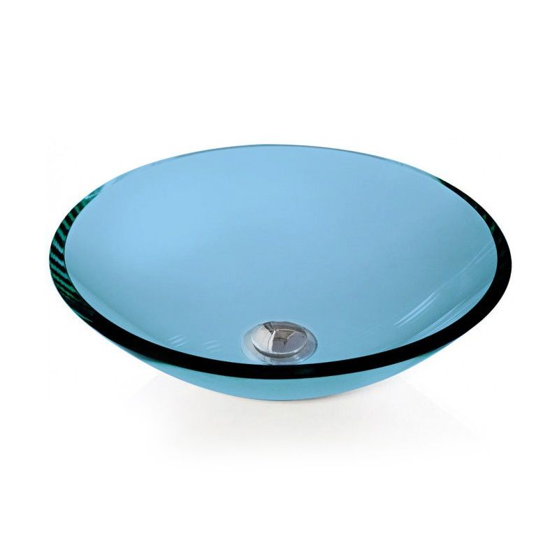 Cuba de Vidro Redonda Sem Aba 30cm 12 mm Bergan Azul claro