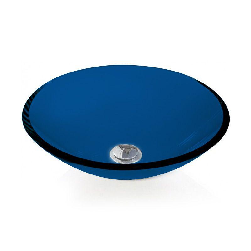 Cuba de Vidro Redonda Sem Aba 35cm 10mm Bergan Azul escuro