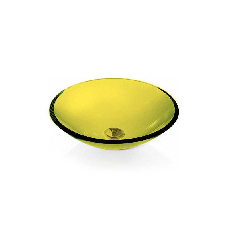 Cuba de Vidro Redonda Sem Aba 35cm 12mm Bergan Amarelo