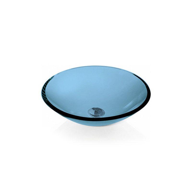 Cuba de Vidro Redonda Sem Aba 35cm 12mm Bergan Azul claro