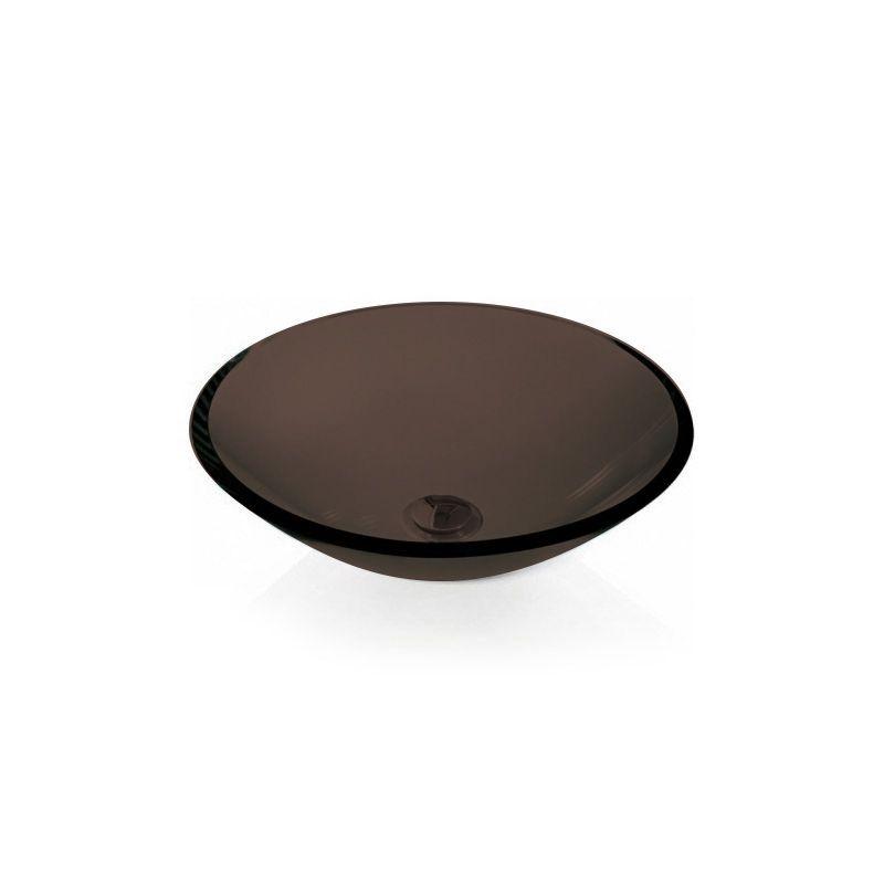 Cuba de Vidro Redonda Sem Aba 35cm 12mm Bergan Chocolate